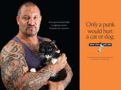 """MMA Fighter John Rallo with his rescue kitty, Doobie, for the Baltimore-based """"Show Your Soft Side"""" kindness-to-animals campaign."""