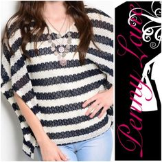"Striped sweater batwing top in S Gorgeous top. Flattering cut! Would look great with leggings or jeans! :) ❌PRICE IS FIRM ❌Shipped within the USA.     Description: L: 25"" B: 30"" W: 29"" Sweaters Shrugs & Ponchos"