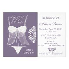 Purple Lingerie Shower Bachelorette Party Invitations