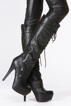 Black Lace Up Platform Stiletto Knee High Boot
