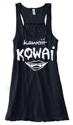 Kowai NOT Kawaii Flowy Tank Top - creepy cute clothing pastel goth top kawaii clothing punk tank top soft grunge top cute flowy top - ladies