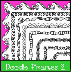 Loops and Curls...black line doodle frames.  From the Lesson Cloud!