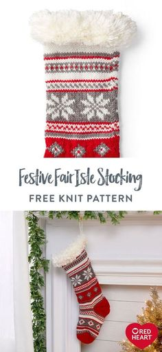 Free Festive Fair Isle Stocking knit pattern using Red Heart With Love yarn. This knit stocking is Santa-approved since its nice big size accommodates lots of goodies! Give it a homey feel by crafting as shown, or imagine another combination of shades for someone in the family. It's sure to find a place in your holiday home. #Yarnspirations #FreeKnitPattern #KnitStocking #FairIsle #ChristmasStocking #RedHeartYarn #RedHeartWithLove