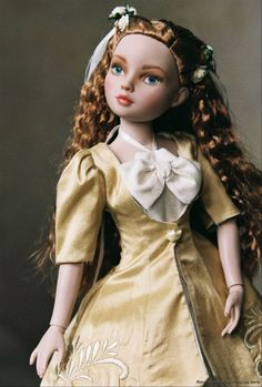 Photo#Feis08 Ellowyne Wilde vinyl doll by Robert Tonner, Philomena as repainted by Nancy Lee Moran, golden gown and coat by SewManyDreams eBay name from MHD pattern