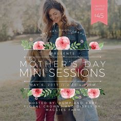I am teaming up with @bumpandbabypinehurst and @maggiesflowers for Mother's Day Mini sessions!! They will be held on May 6th from 2-4pm at Bump and Baby in Pinehurst!  There will be a beautiful floral display and optional flower crowns available!  Images will be ready to enjoy for Mother's Day!  I'm excited to see all the mamas and their kiddos!