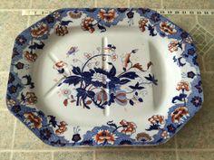 Fabulous & Rare HUGE Antique Copeland 1851-1885 Well & Tree Platter Imari  #Copeland
