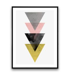 Minimalist print, Triangles print, Abstract print, Mustard, Geometric print, pink, grey, Nordic style, Modern art, watercolor abstract,