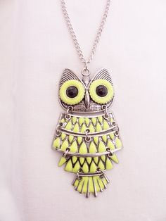 Neon yellow owl pendant necklace   owl by SparkleandComfort   $14.00 love this one <3!
