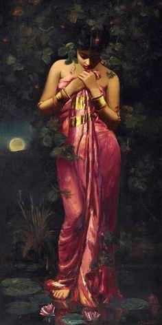 Untitled (Manas Kamal) - Hamen Mazumdar - Indian Masters Painting - Art Prints by Hemen Mazumdar Indian Artwork, Indian Art Paintings, Oil Paintings, Landscape Paintings, Indian Women Painting, Indian Artist, Sexy Painting, Woman Painting, Painting Art