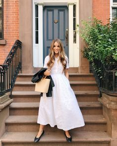 Julia Engel shares her daily look on Gal Meets Glam. Today, Julia is wearing a Co dress, Chanel flats, and Iro Leather jacket. Click here to shop the look!
