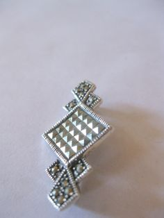 Vintage 1 Sterling Silver .925 Marcasite Pin Brooch - New Old Stock, Never Worn. $15.00, via Etsy.