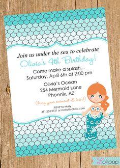 Girl Under the Sea Printable Photo Birthday Party Invitation 5x7