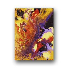 Abstract Painting Yellow & Purple Painting on Canvas Art Acrylic Pour Painting 18x24 Heather Day Original Paintings. $95.00, via Etsy.