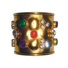 Chanel Multi Poured Glass Golden Cuff Bracelet | From a unique collection of vintage cuff bracelets at https://www.1stdibs.com/jewelry/bracelets/cuff-bracelets/