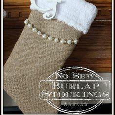 NO SEW Burlap Stockings