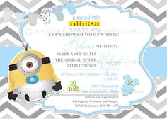 Rubber duck minion inspired baby shower invitation minion baby minions boy baby shower blue and gray baby shower card minions theme filmwisefo Images