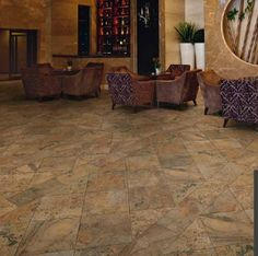 Ragno CALABRI color: BR. Installed in commercial space. Unique and interesting tile pattern