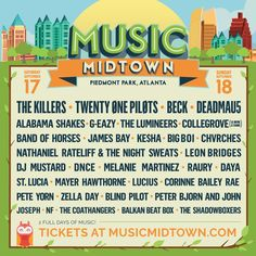 """Music Midtown: """"The #MusicMidtown lineup is here! Join the E-LIST for Presale Access & get your tix early: [click thru]"""" : twitter - 6/21/16 #Atlanta"""