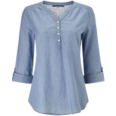 Dash Chambray Print Blouse ($50) ❤ liked on Polyvore featuring tops, blouses, blue, women, dash top, chambray top, 3/4 sleeve tops, print top and chambray blouse