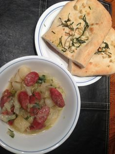 Oktoberfest Stew and Roasted Garlic Flatbread