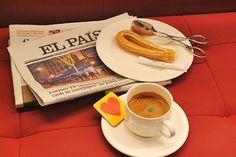 Madrid - Radisson Blu Hotel, morning nespresso with some churros, yummy!