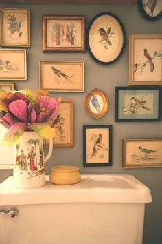 soft grey walls, bird prints 5 Beautiful Bathroom Gallery Walls