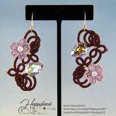 Leilani earrings needle tatting kit and pattern by Happyland87