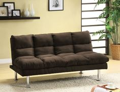 Saratoga II Contemporary Style Design Dark Brown Finish Microfiber Pillow Top Futon Sofa with Chrome Finish Support Legs. Futon Sofa measures x x Futon Bed measures x x Some Assembly Required. Futon Sofa Bed, Futon Mattress, Recliner Chairs, Sleeper Sofas, Recliners, Sectional Sofas, Tatami Futon, Futon Bedroom, Bedroom Furniture