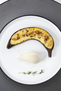 Saffron banana creme brulee