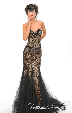 5c0470d3f60a1 Precious Formals Style Be super sexy in this animal print strapless gown  with a beaded and jeweled neckline and waistline, along with an overlay of  illusion ...