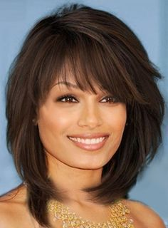 Sweet Layered Bob Hairstyle Mid-lenght Straight Capless Synthetic Wigs 14 Inches #straighthairstylesmedium