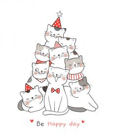 christmas doodles Draw illustration happy cat with word be happy day for Christmas day and New year. Christmas Makes, Christmas Art, Christmas Decorations, Vector Christmas, Christmas Birthday, Hygge Christmas, Merry Christmas Drawing, Easy Christmas Drawings, Merry Christmas Cat