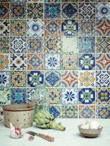 Vægflise Acaulco, livlige mønstrede vægfliser 10x10 cm