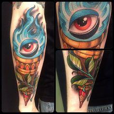 #tattoo #neotraditional #full #color #black #torch #antorcha #fire #fuego #cute #eye #ojo #blue #arm #brazo #madrid #joako