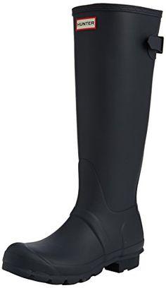 Hunter Womens Original Back Adjustable Rain Boot - size 10, in Black or Midnight/Mineral Blue