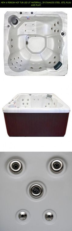 NEW 6 Person Hot Tub LED Lit waterfall, 29 stainless steel jets, Plug and play! #drone #camera #tech #shopping #hot #person #plans #6 #kit #fpv #gadgets #parts #tubs #products #racing #technology