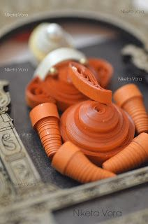 Wooden Wall Hanging Paper Quilled  - Wall Decor- Ganpati  Material: Frame is made from wood and the Ganpati is made from quilling paper
