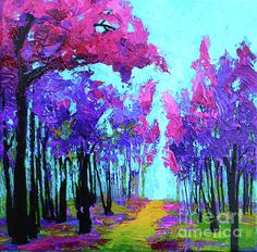 Forest Trees Modern Impressionist, Palette Knife Painting Canvas Print / Canvas Art by Patricia Awapara Impressionist Paintings, Landscape Paintings, Landscapes, Artist Painting, Painting Prints, Canvas Art, Canvas Prints, Palette Knife Painting, Fine Art Auctions