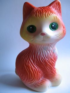 Vintage Soviet Russian Pretty PUSS rubber cat toy doll USSR 1980