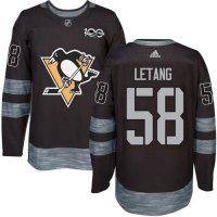 8366de0d4 Men s Pittsburgh Penguins  58 Kris Letang Black 1917-2017 100th Anniversary  Stitched NHL Jersey