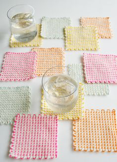 Whit's Knits: Pin Loom Coasters - The Purl Bee - Knitting Crochet Sewing Embroidery Crafts Patterns and Ideas!