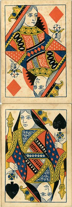 Queen of diamonds / Queen of Spades / H. G. Willis & Co's playing cards / c. 1875 / http://www.wopc.co.uk/
