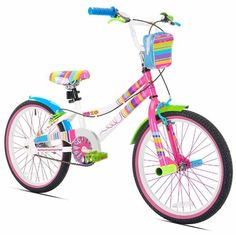 Do you have a little girl who marches to her own drummer and loves to stand out? Well the Sweet style from Little Miss Matched is practically a parade float you can pedal. The sturdy steel frame is brightly colored and outfitted with mismatching accoutrements, from the grips and pedals on down to the cool pink sidewall tires. The high rise BMX style handlebar makes steering easy, and the front and rear side pull handbrake's make stopping a breeze. #bike #bicycle #BMX #Cycling