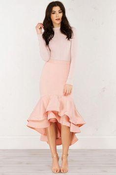 Modest Pink Ruffled Dress