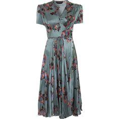 Rochas Peonies Dress ($729) ❤ liked on Polyvore featuring dresses, vestidos, women, short sleeve silk dress, short sleeve v neck dress, blue swing skirt, v neck silk dress and silk dress