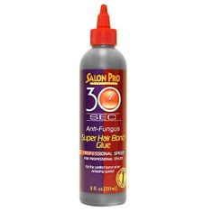 Salon Pro 30 Sec Super Hair Bond Glue 8 Oz by Salon Pro. $10.49. New Size Bottle: 8 oz. This anti fungal formula dries out in 30 seconds time! Apply the hair bond glue to wefted hair extensions weave at the scalp and it bonds in seconds time. You can use this glue for braiding hair as well! Works perfectly for both synthetic and human hair extensions!