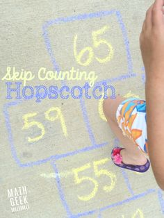 This is such a fun and SIMPLE way for kids to get moving and practice skip counting! Skip counting hopscotch is a fun twist on the traditional game that kids love! Easy Math Games, Math Games For Kids, Multiplication Games, Multiplication And Division, Maths, Math Resources, Math Activities, Math Enrichment, Skip Counting