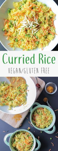 Curried Rice (Vegan + Gluten Free) - A delicious twist on rice made with curry powder, veggies, and almonds. It's perfect on it's own or as a side dish with added protein and roasted veggies.