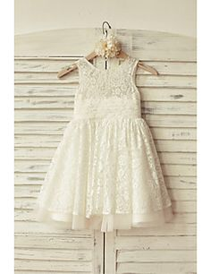 A-line+Knee-length+Flower+Girl+Dress+-+Lace+/+Tulle+Sleeveless+Scoop+with+–+USD+$+59.99