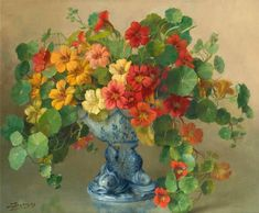 Julien Stappers - nasturium in blue vase floral art Arte Floral, Art Paintings For Sale, Painting Inspiration, Art Lessons, Painting & Drawing, Flower Art, Still Life, Beautiful Flowers, Fine Art